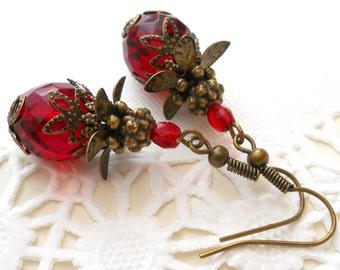red victorian dangle earrings red earrings brass earrings filigree earrings victorian style earrings beaded earrings beaded earrings