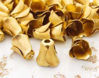 Raw Brass Tulip Flower Petal Bead Caps, Bead Cones, Tassel Tops 12mm Long - 6