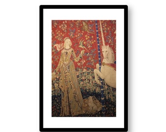 The Lady and the Unicorn (Taste) -- photograph of tapestry in Paris' Cluny Museum -- digital download / instant download / printable