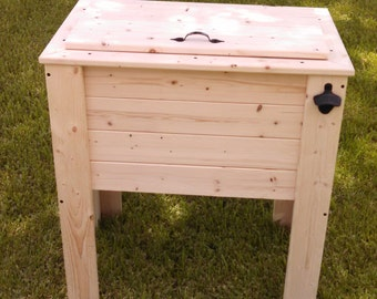 Rustic Wood Cooler Ice Chest 90 Qt Capacity