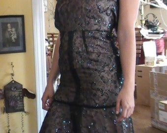 Vintage Black Lace Dress from the 30's