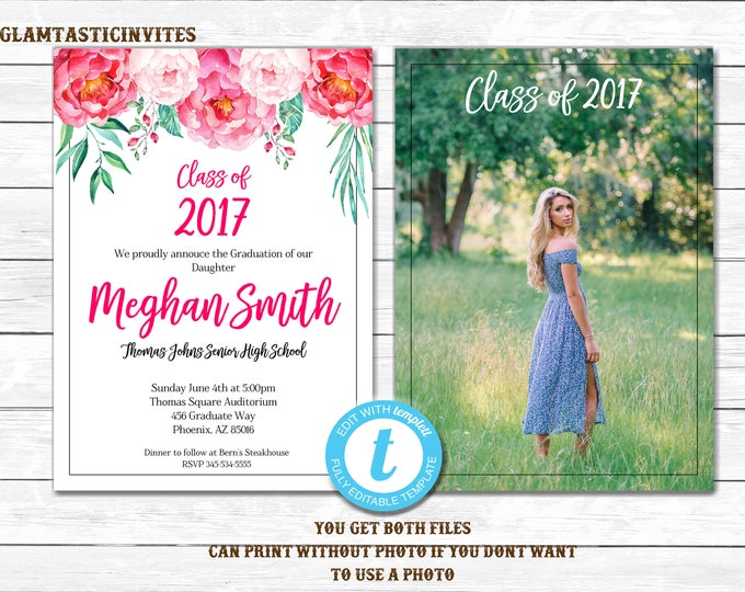 Graduation Invitation, Floral Graduation Invitation, College Graduation Invitation, Graduation TEMPLATE, YOU EDIT, Graduation Announcement