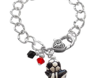 Personalized, Soccer Bracelet,Team Colors,Swarovski Bracelet, Soccer Mom Bracelet, Soccer Jewelry,Soccer Charm, Soccer Gift, (Made to Order)