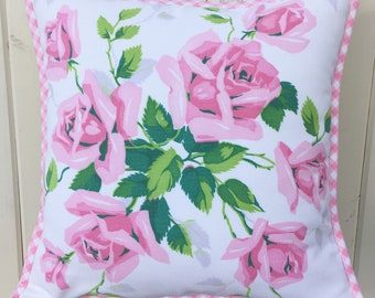 """vintage pink roses pillow cover 14"""""""