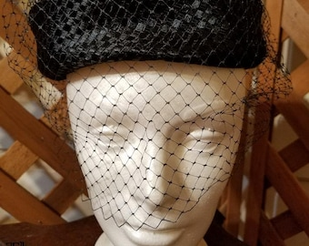 Vintage Woven Hat and Veil, lovely and feminine