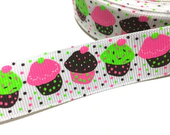 22mm Birthday Cupcakes Ribbon, Birthday Decor ribbon, 7/8 Cupcakes Grosgrain Ribbon, Cupcake Sprinkles Ribbon, Food Ribbon, Desserts Ribbon