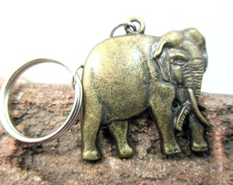 Cute charms Elephant brass pendant key ring key chain or Necklace
