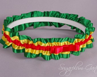 Rasta Wedding Garter in Red, Yellow and Green Satin with Tailored Bow