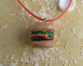 Cheesburger Necklace, Burger Necklace, Hamburger Necklace, Burger Jewelry, Cheeseburger Jewelry, Food Jewelry, Fast Food Necklace, Burgers