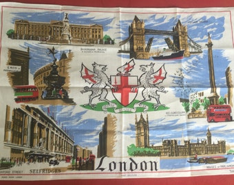 Vintage London cloth towell wall hanging