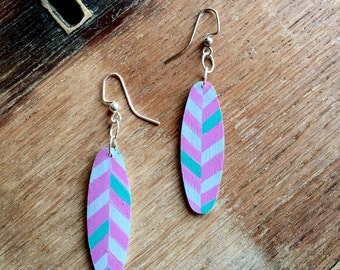 Chevron Earrings  | Wooden Earrings | Wood Earrings | Hand Painted Earrings | Surfboards | Statement Jewelry | Surfer Girl |