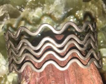 Sterling silver 1960s wave cuff bracelet