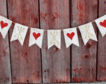 Valentines Day Decor, Gold Valentines Day Heart and Arrow Banner, Heart Bunting Garland, Arrow Banner, Happy Valentines Day, Burlap Banner