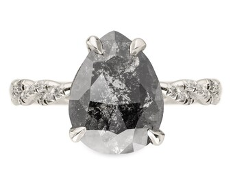 1.71 Carat Black Speckled Pear Diamond Engagement Ring, Heidi Setting, 14k White Gold