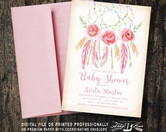 Dream Catcher Baby Shower Invitation | Printed OR Printable Digital File | Girl Dreamcatcher Bohemian Watercolor Boho Baby Shower Invitation