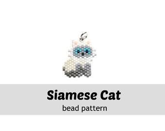 Siamese Cat Delica Seed Bead Pattern, Peyote / Brick Stitch Beading | DIGITAL DOWNLOAD