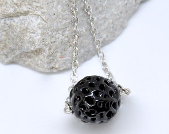 Black Ball Bead Necklace, Black Pendant Necklace, Antique Silver Black Glass Bead Necklace, Goth Gothic Necklace, Unique Gift, Filigree Bead