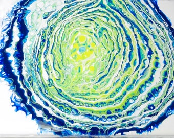 Abstract Acrylic Pour #38 Painting 8 x 10-Blue-Green-White-Yellow-Original-Home Decor-Canvas-Wedding Gift-Affordable-Acrylic Pour Technique