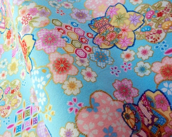 Japanese blue floral fabric fat quarter, made in japan fabric by yard, quilt decoration japanese fabric, kawaii fabric, tenugui fabric