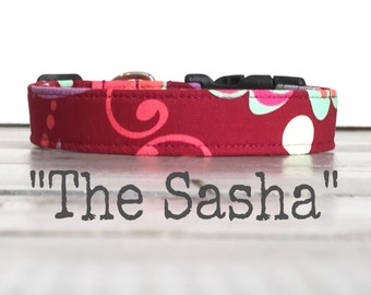 Pretty DOG COLLAR, Dog Collar for Girls, The SaSHa, Dog Collar, Ruby, Beautiful Dog Collar