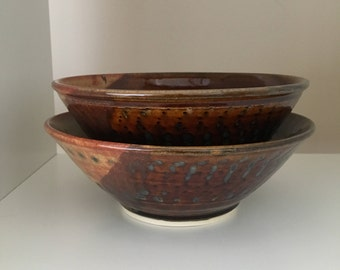 Nesting Bowls, Stacking Bowls, Ceramic Bowl Set, Serving Bowls, Pottery Bowls, Ceramics and Pottery, Brown Rustic Nesting Pottery Bowls