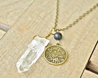 Zodiac raw crystal quartz long necklace. Aries  Taurus  Gemini  Cancer  Leo  Virgo  Libra  Scorpio  Sagittarius  Capricorn  Aquarius  Pisces