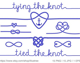 Tying the knot, wedding invitation, nautical clip art, rope heart, anchor, navy blue, commercial use, JPG, PNG, vector EPS, instant download