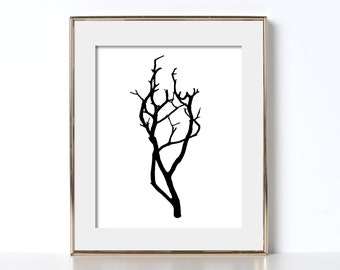 Tree Art Digital Download Manzanita Branch Art Rustic Decor Trendy Design Black and White Art Nature Art Cabin Art Minimalist Art Den Art