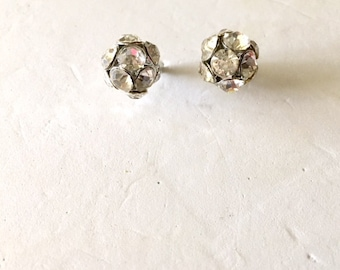 Rhinestone Ball Earrings, Silver Tone Studs, Bling