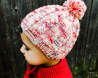 Knit Pattern - Hat - Beanie - Beanie with Pom - Winter - Fall - Fashion - All Ages