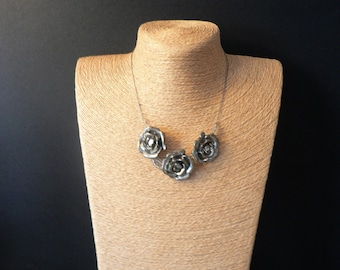 Silver Toned Metal  Rose Necklace