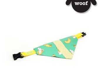 GOOOD Dog Collar (Small Sz)   Center Scarf - Banana Sundae   100% Green & Yellow Fabric