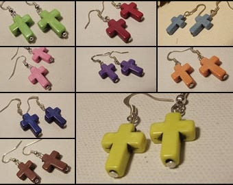 Fancy earrings howlite cross in colors to choose pink yellow green blue white black brown orange