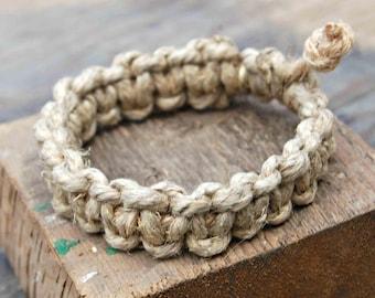 Thick Hemp Bracelet, Chunky Hemp Bracelet, Men's Hemp Bracelet, Surfer Bracelet, Natural Hemp Bracelet, Phatty Hemp Bracelet, Mens Jewelry