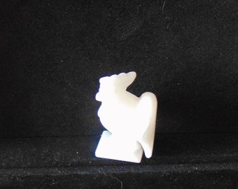51 mm Hand Carved White Jade Rooster