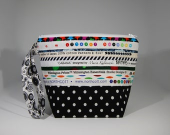 MINI zip SELVEDGE fabric lined project bag -  100% Cotton - OOAK
