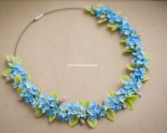 Forget me not necklace, myosotis necklace, Blue flowers necklace, fimo flowers jewelry, delicate jewelry