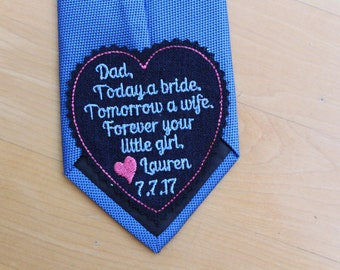Wedding tie patch Father of the Bride, forever your little girl, heart tie label, black, Gift for Dad from daughter. iron-on available