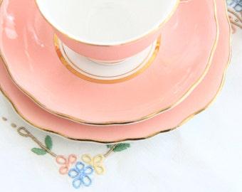 Colclough vintage bone china teacup, saucer and tea plate