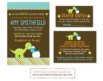 Dinosaur Baby Shower Invitation, Dinosaur Baby Shower, Dino Baby Shower, Boy Baby Shower, Printable Dinosaur Baby Shower Invitation