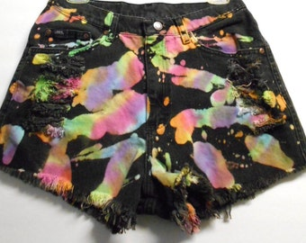Vintage High Waisted TIE  Dyed  Denim Shorts -  ---Waist 29  inches