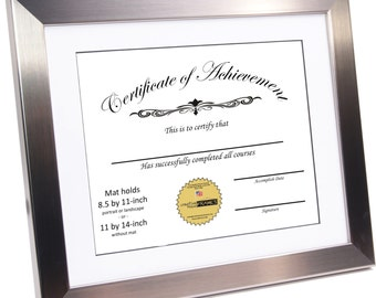 Diploma Certificate Frame, Stainless Steel, Displays 8.5 by 11 w/ Mat or 11 by 14-inch Graduation University Frames w/ Stand & Wall Hanger