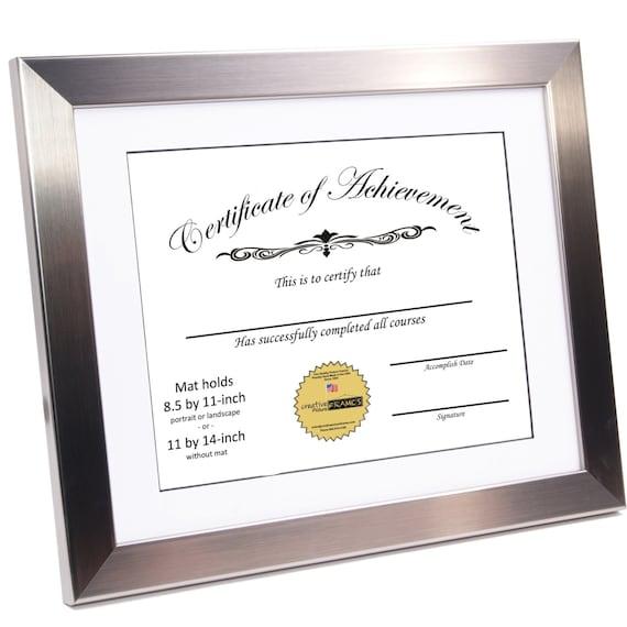 Marco de diploma certificado acero inoxidable muestra 8.5