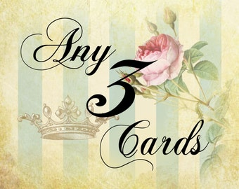 Choose any three WickedlyLovely Art  Greetings cards