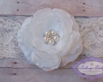 White baby headband, newborn headband, infant headband,  photo prop, flower headband, lace headband,  WHITE flower on white lace  headband