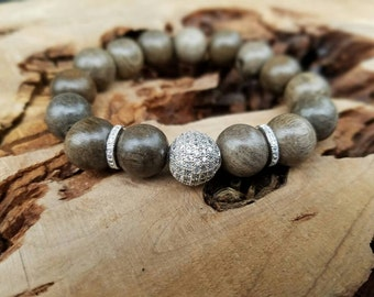 Stackable 12mm Graywood Stretch Wood Bracelet With Silver Micro Pave CZ Beads