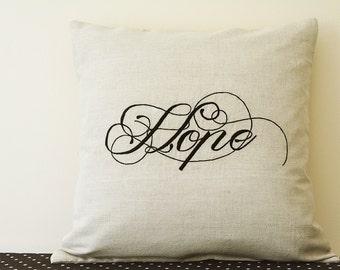 Hope , Black Embroidery on Natural Ecru Cotton Linen Cushion Cover , Light Beige Cotton Linen Hope Message Pillow Cover , Decorative Pillow
