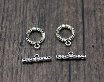 12mm   15mm Sterling silver toggle clasps, round toggle clasp set, bracelet clasp, necklace clasp