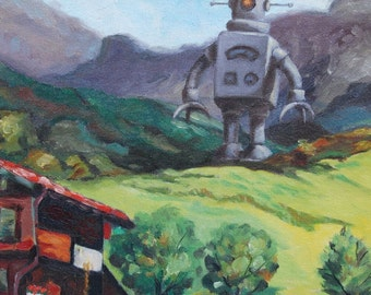 """4"""" by 6"""" postcard print, """"Mountain Bot"""" Altered Thrift Store Art"""