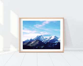 Swiss Alps Watercolor Printable Art, Switzerland Alps, Mountains Painting, Alps Print, Instant Download Watercolor Landscape Print Wall Art